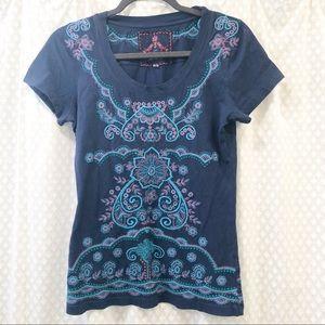 JOHNNY WAS • Navy embroidered tee shirt MEDIUM